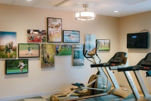 The fitness center at The Inn and Suites at Franciscan Square.
